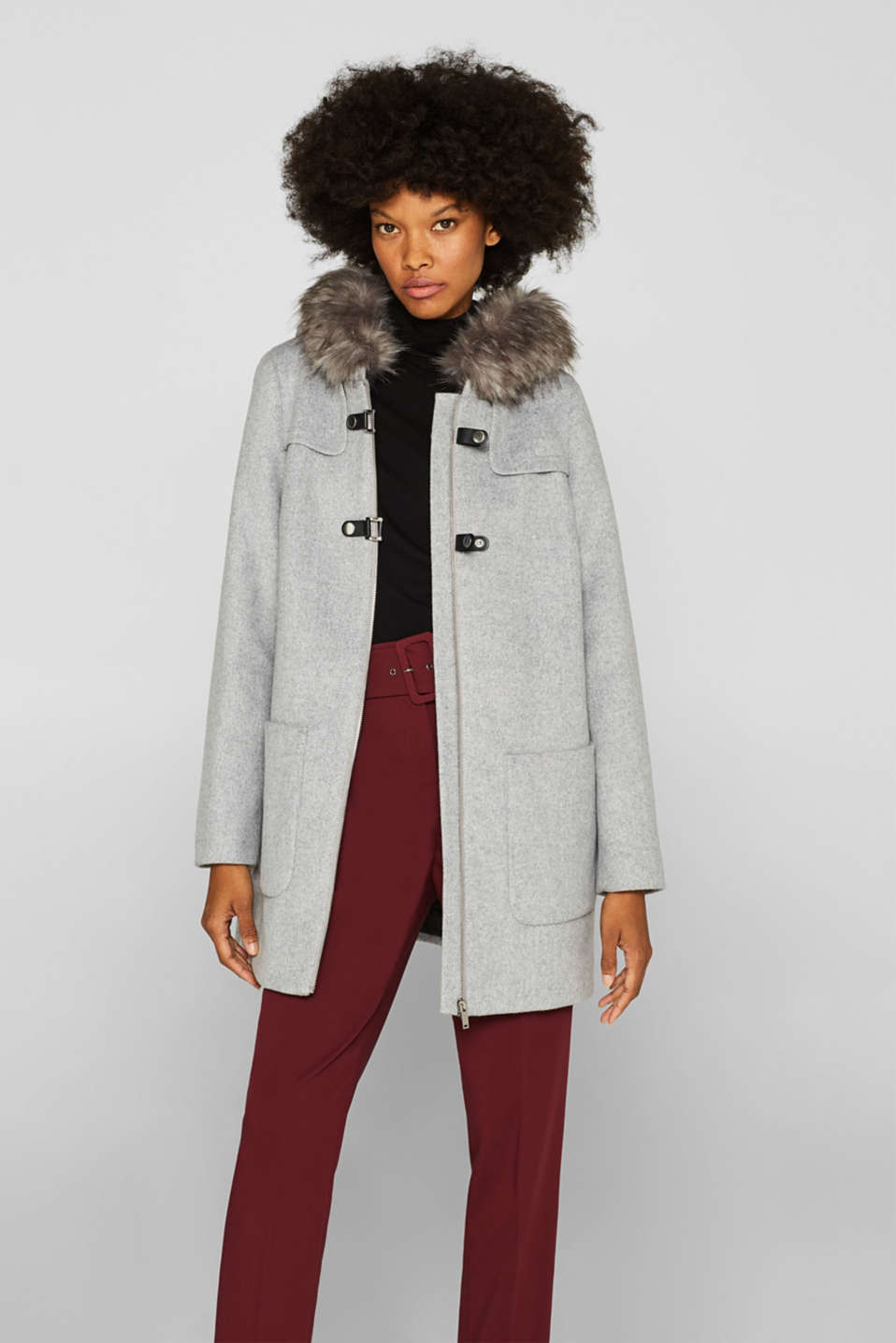 Esprit - Padded hooded coat with wool