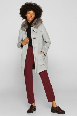 Padded hooded coat with wool, LIGHT GREY 5, detail
