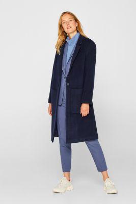 Blazer coat with cashmere, NAVY, detail