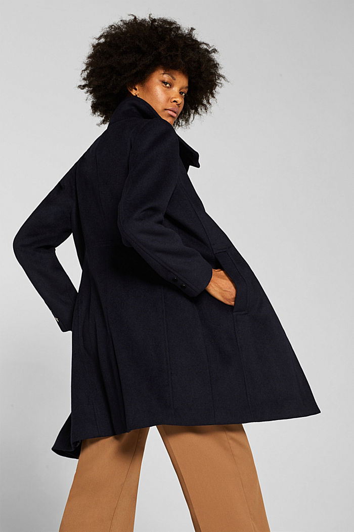 Made of blended wool: Coat with a stand-up collar, NAVY, detail image number 3