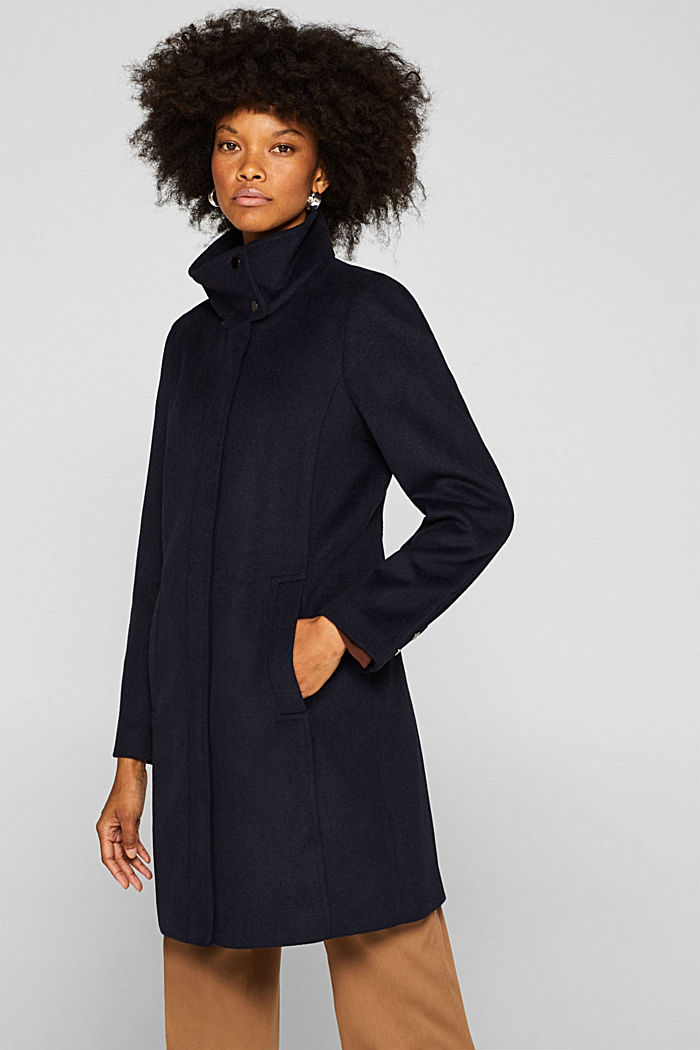 Made of blended wool: Coat with a stand-up collar, NAVY, detail image number 5