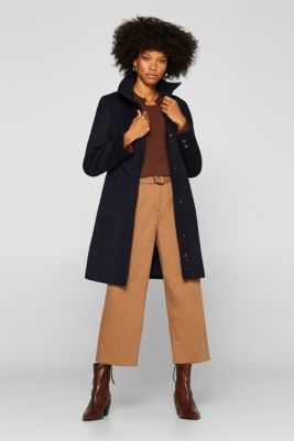 Made of blended wool: Coat with a stand-up collar, NAVY, detail