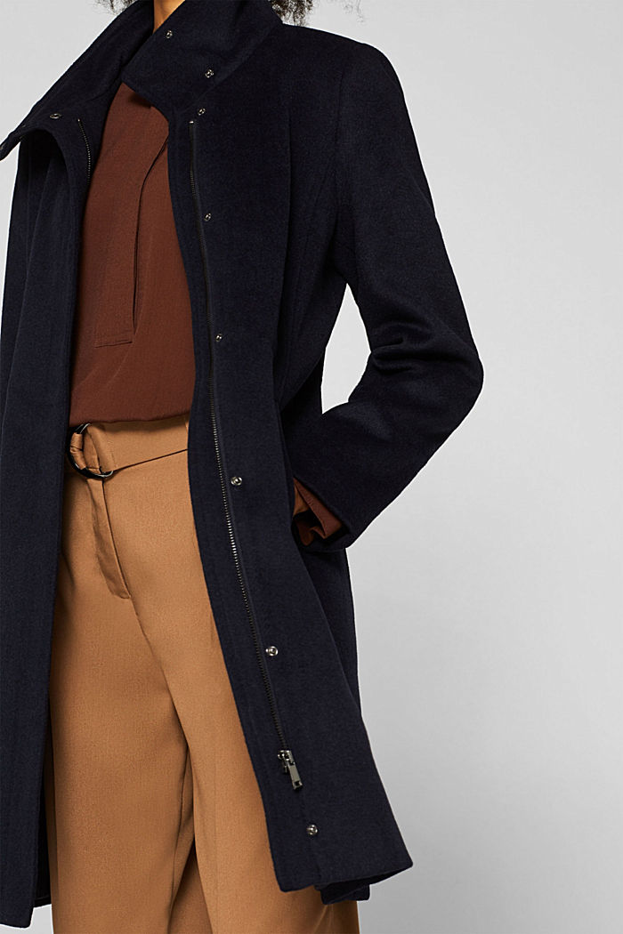 Made of blended wool: Coat with a stand-up collar, NAVY, detail image number 2