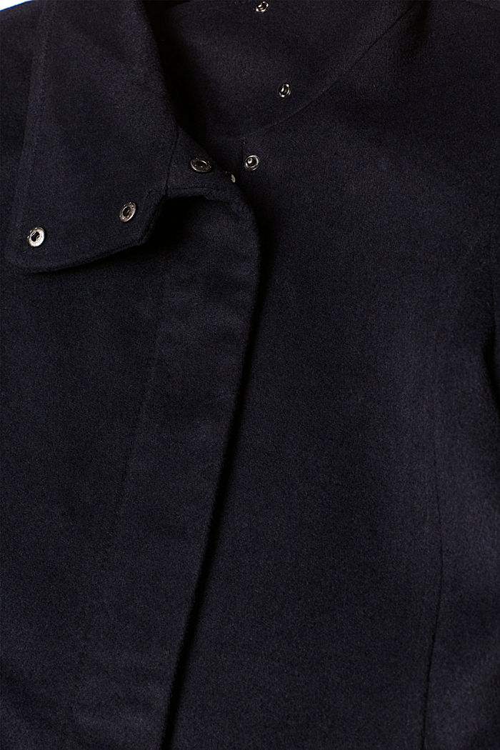 Made of blended wool: Coat with a stand-up collar, NAVY, detail image number 4
