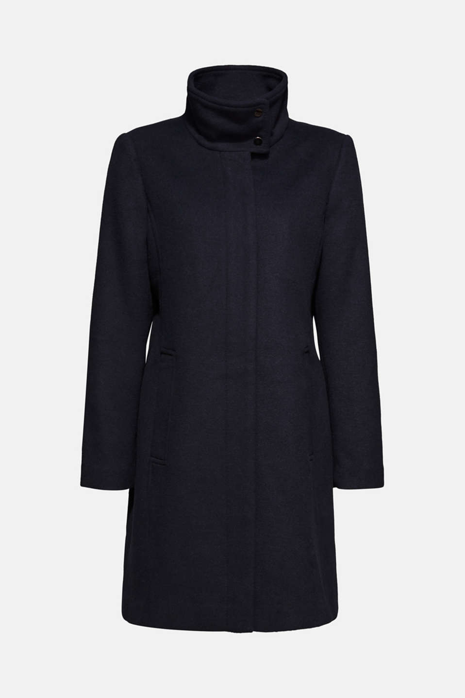 Made of blended wool: Coat with a stand-up collar, NAVY, detail image number 7