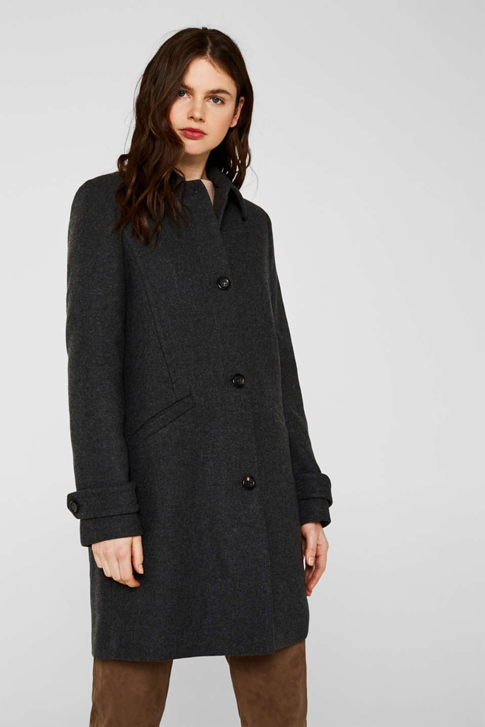 Esprit - With wool: Coat made of exquisite yarn