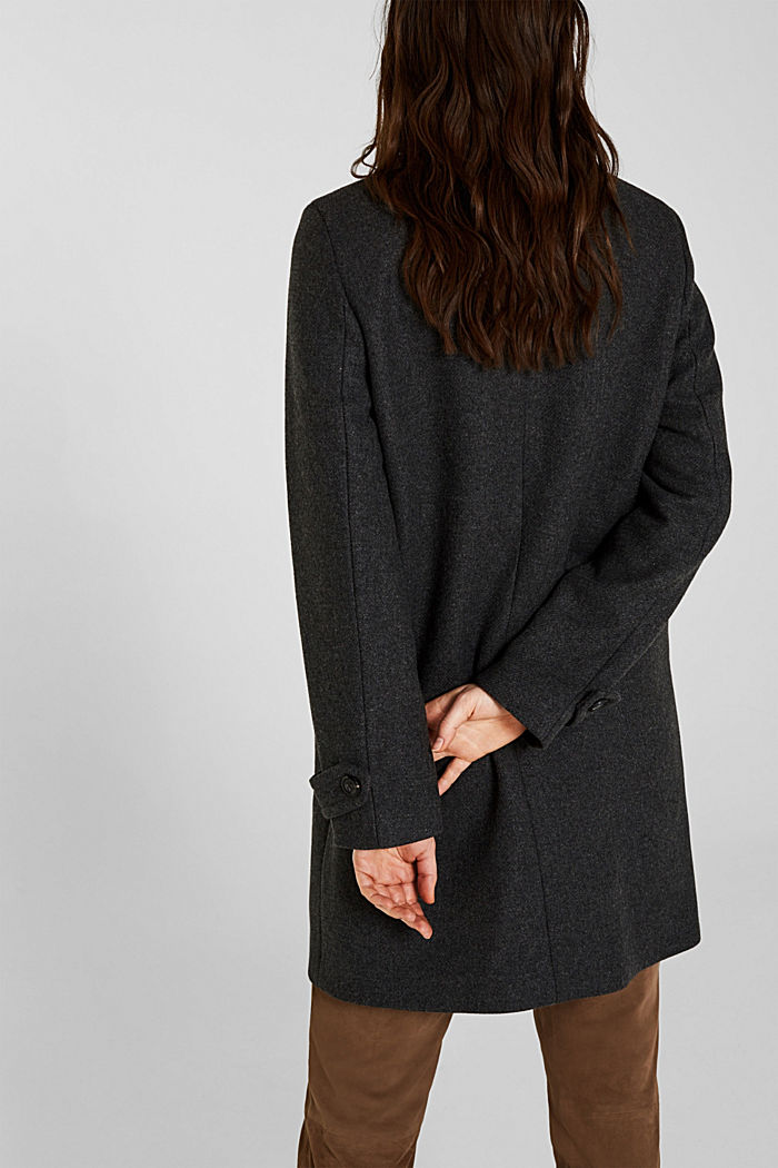 With wool: Coat made of exquisite yarn, DARK GREY, detail image number 3