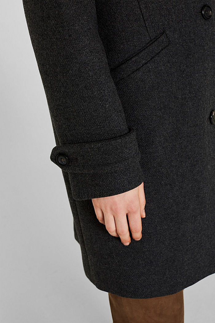 With wool: Coat made of exquisite yarn, DARK GREY, detail image number 2
