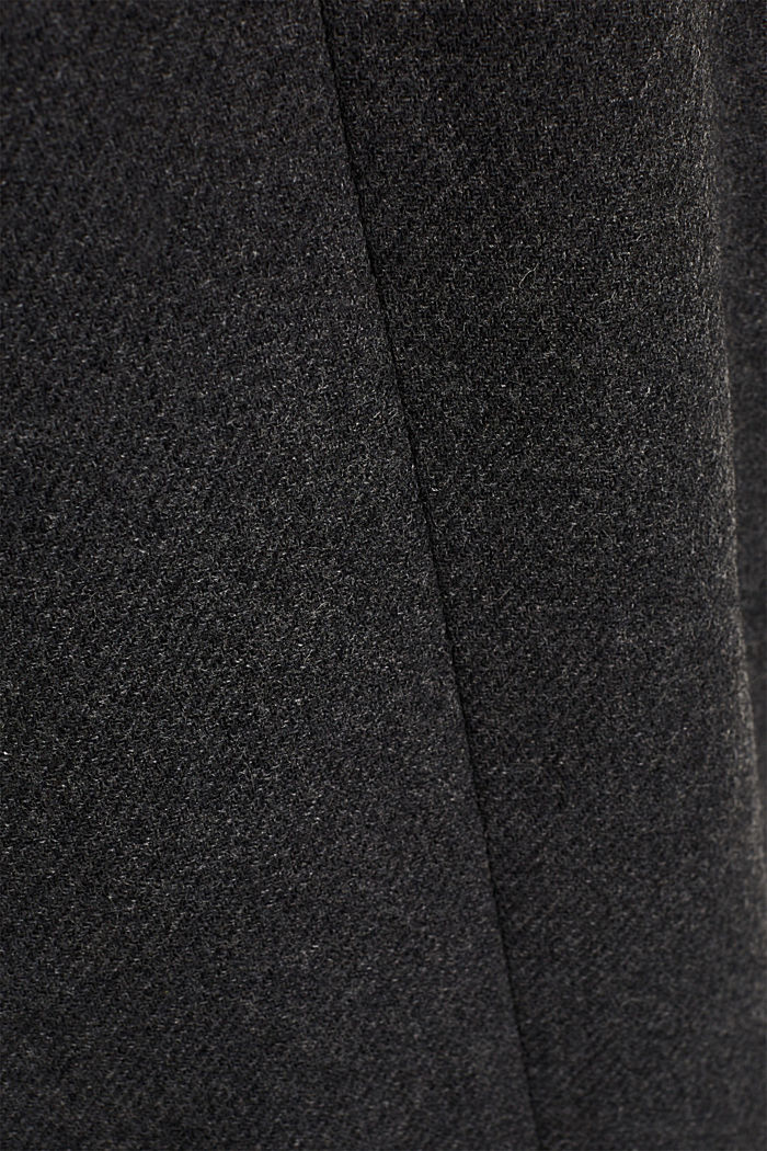 With wool: Coat made of exquisite yarn, DARK GREY, detail image number 4