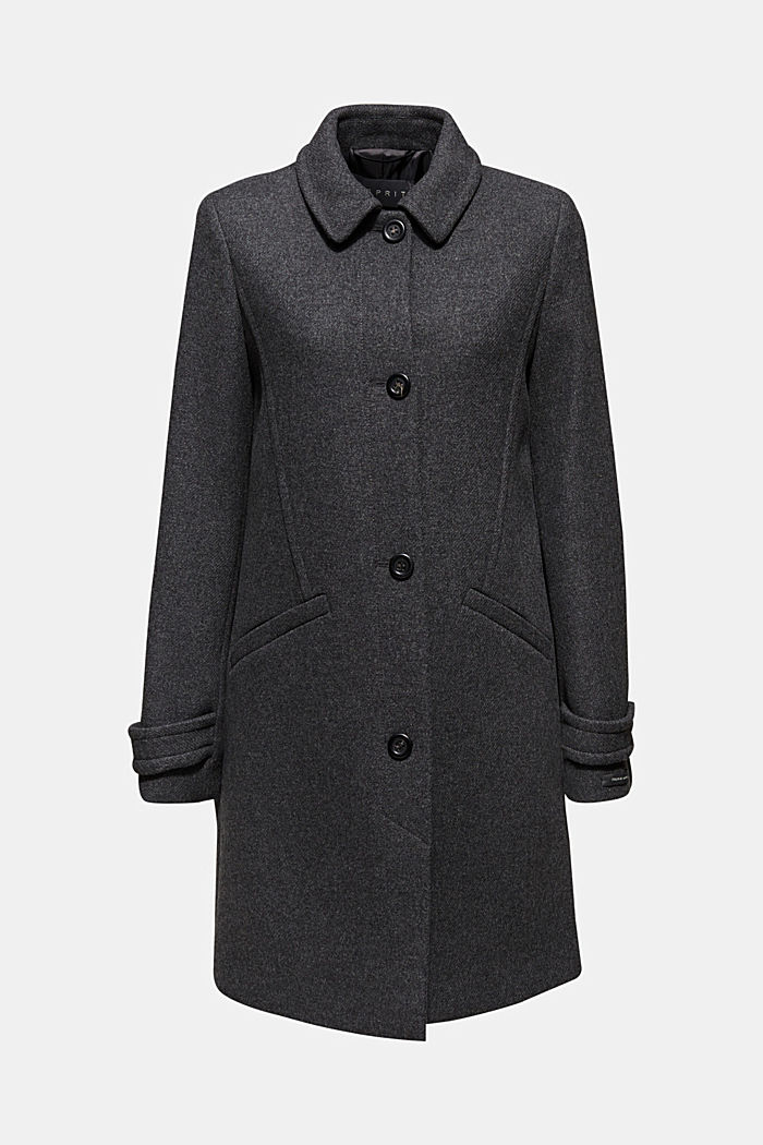 With wool: Coat made of exquisite yarn, DARK GREY, overview