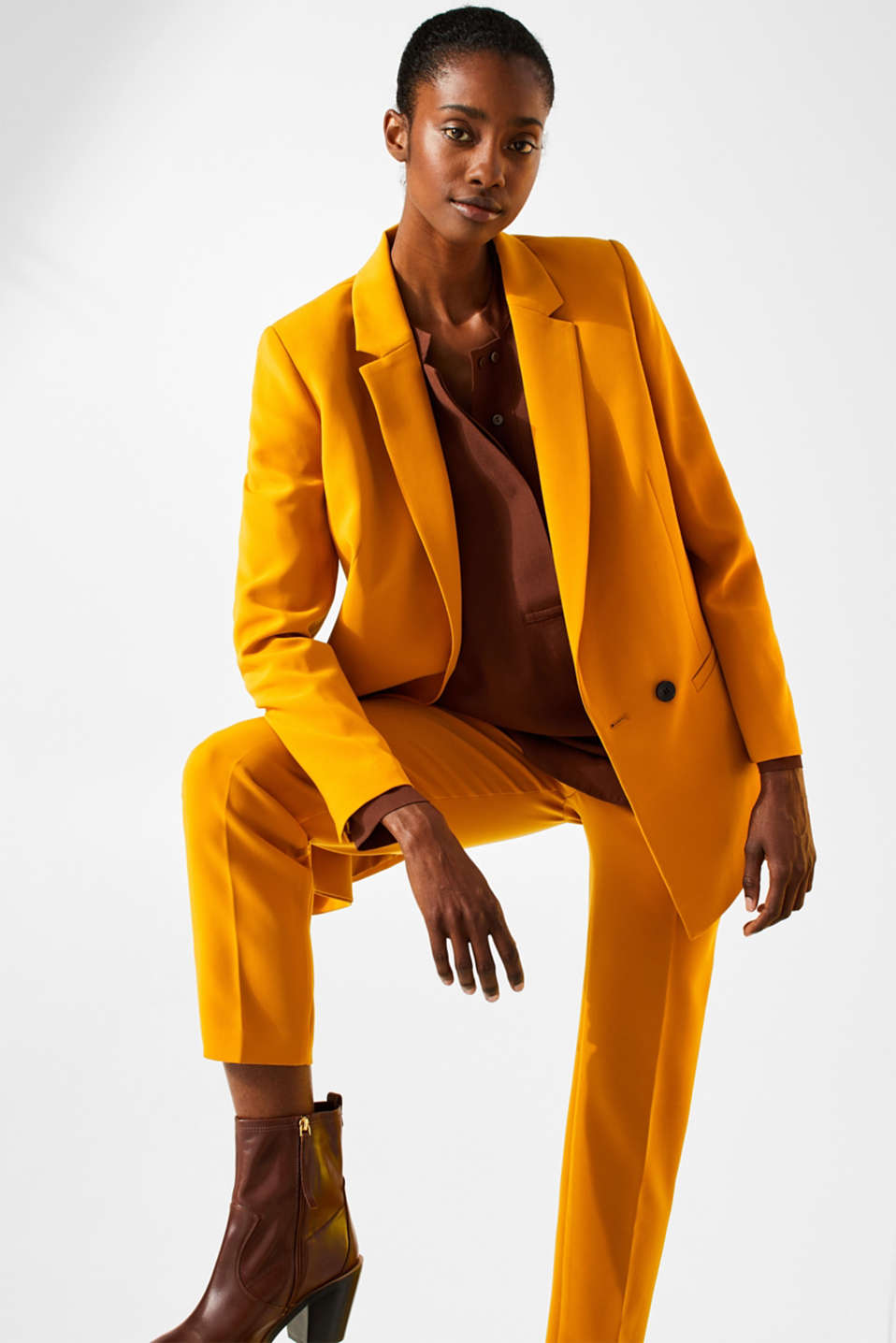 TAILORING mix + match stretch blazer, AMBER YELLOW, detail image number 5