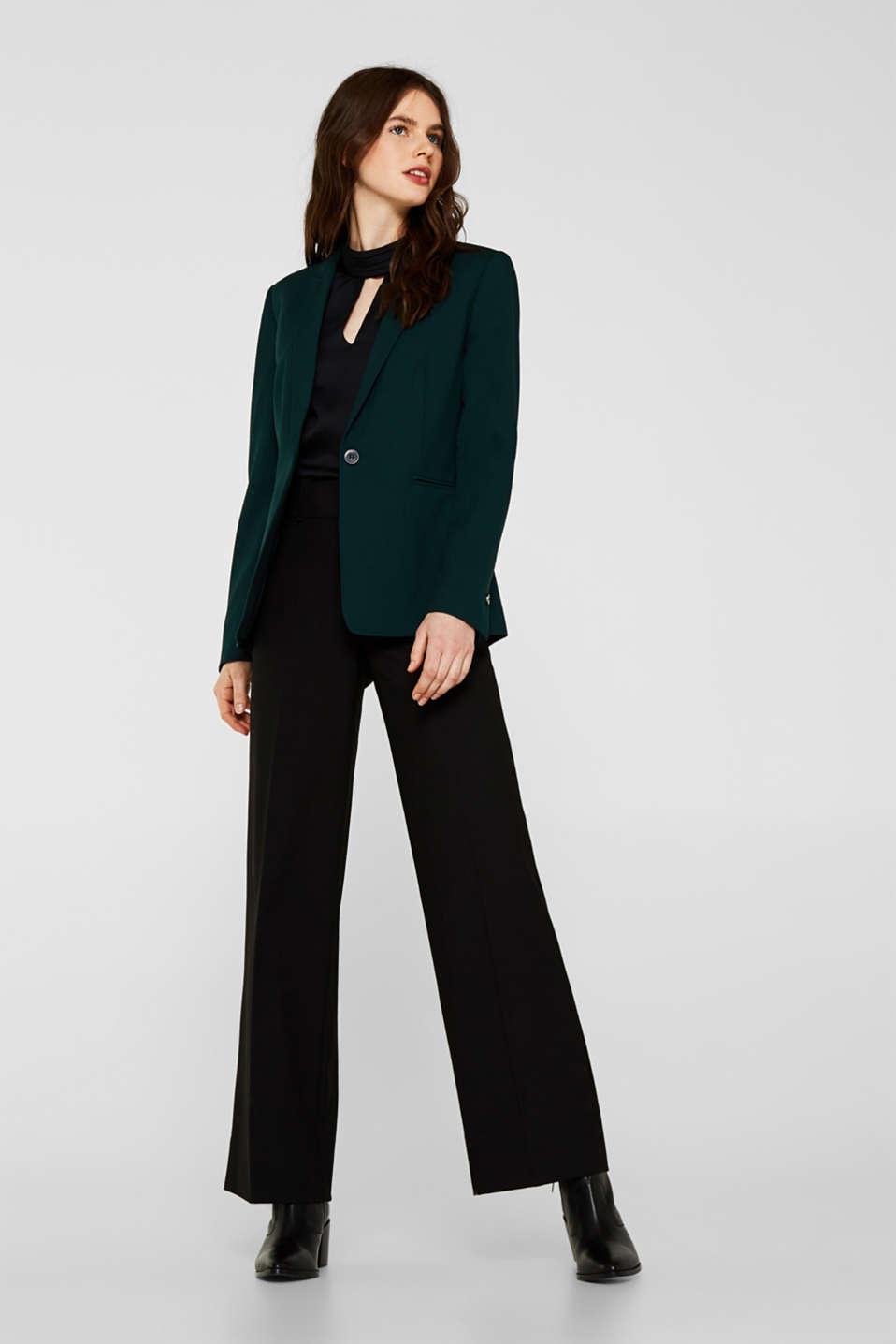 STITCHING mix + match stretch blazer, DARK TEAL GREEN 2, detail image number 1