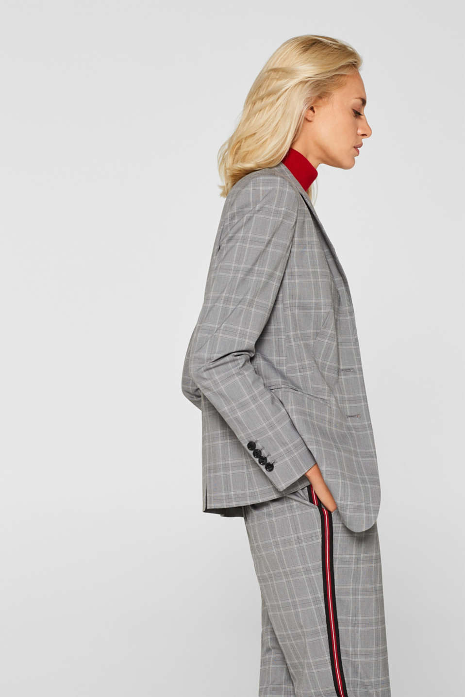 GLENCHECK mix + match stretch blazer, MEDIUM GREY, detail image number 5