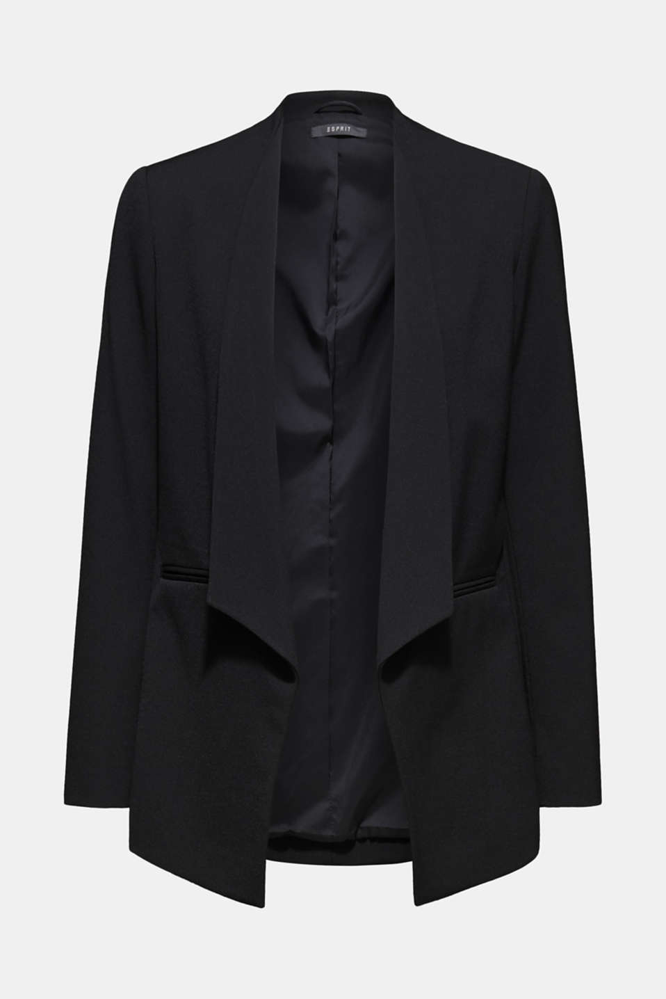 Stretch blazer with a new dinner jacket collar, BLACK, detail image number 5
