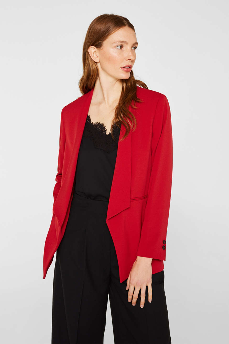Esprit - Stretch blazer with a new dinner jacket collar