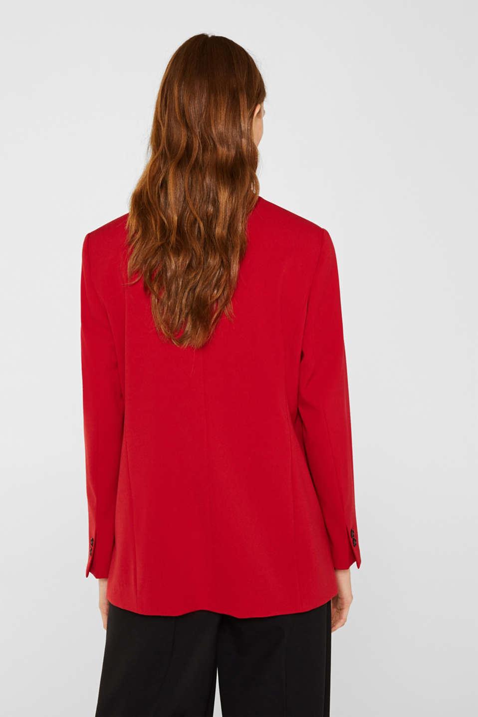 Stretch blazer with a new dinner jacket collar, DARK RED, detail image number 3