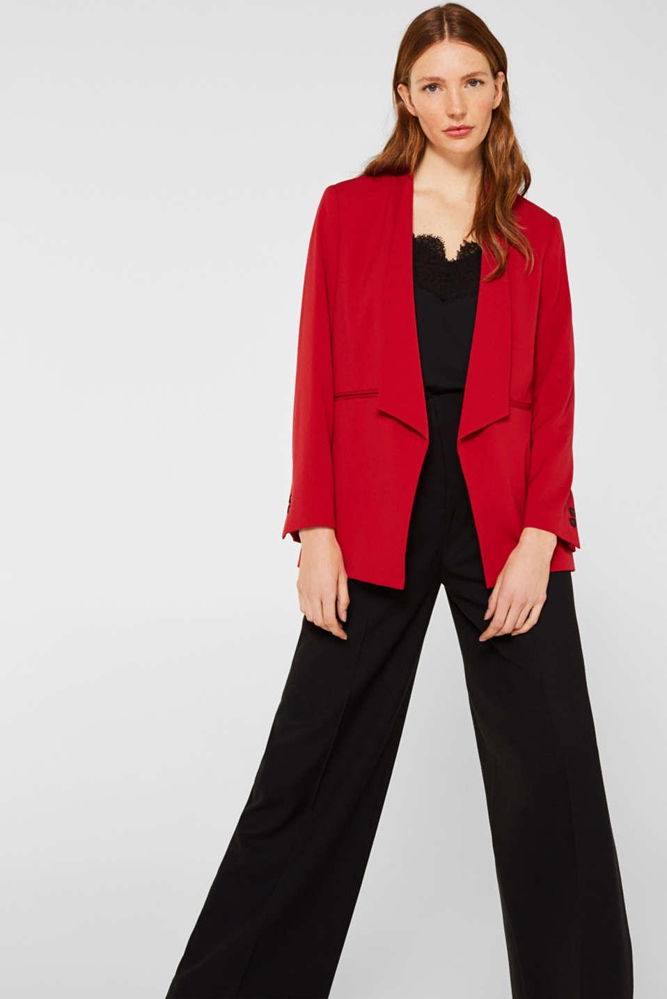 Stretch blazer with a new dinner jacket collar, DARK RED, detail image number 5