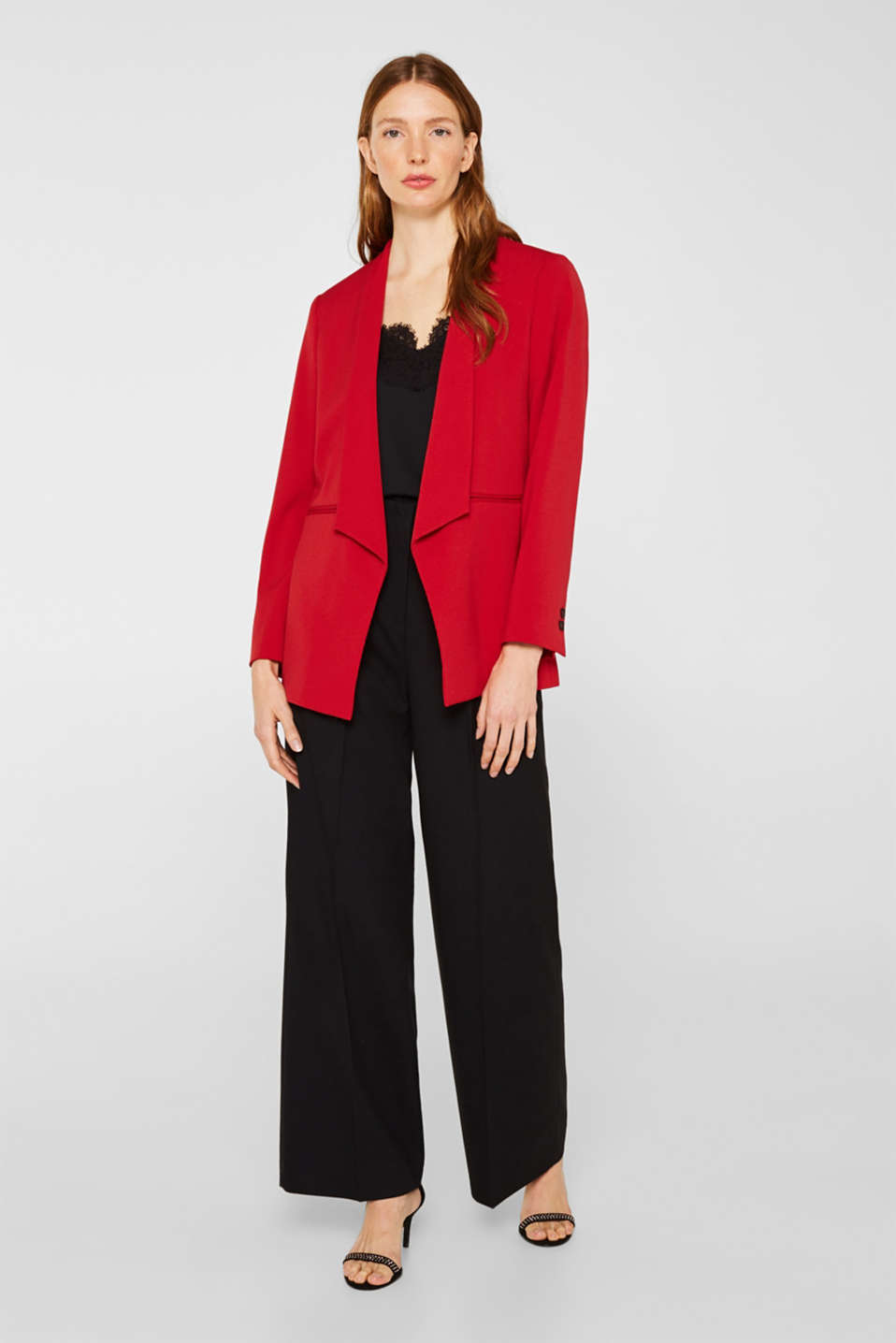 Stretch blazer with a new dinner jacket collar, DARK RED, detail image number 1