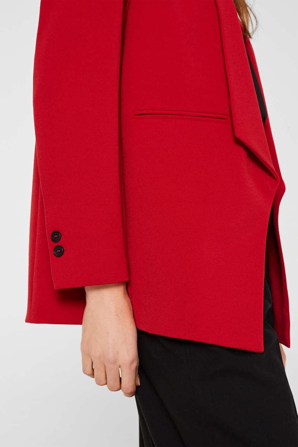 Stretch blazer with a new dinner jacket collar, DARK RED, detail image number 2
