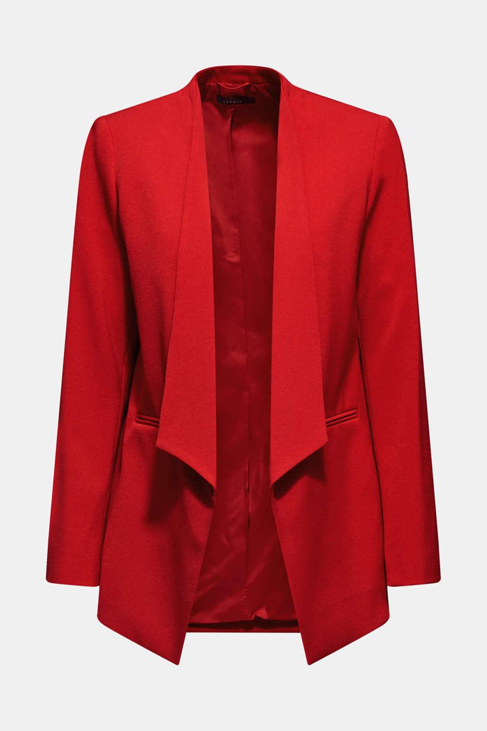 Stretch blazer with a new dinner jacket collar, DARK RED, detail image number 6