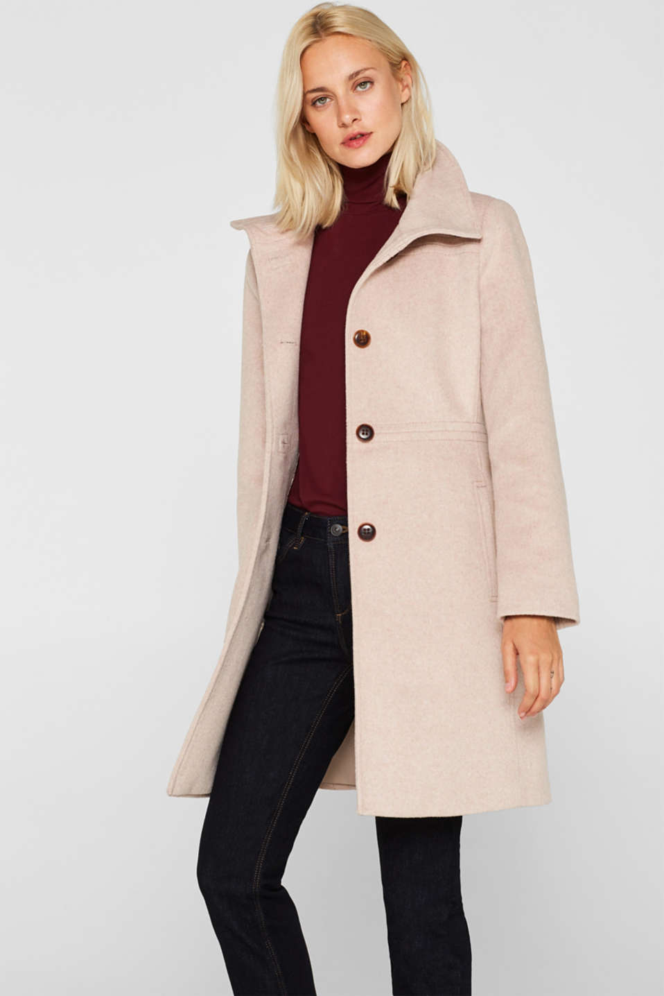 Esprit - Made of blended wool: Coat with an adjustable collar