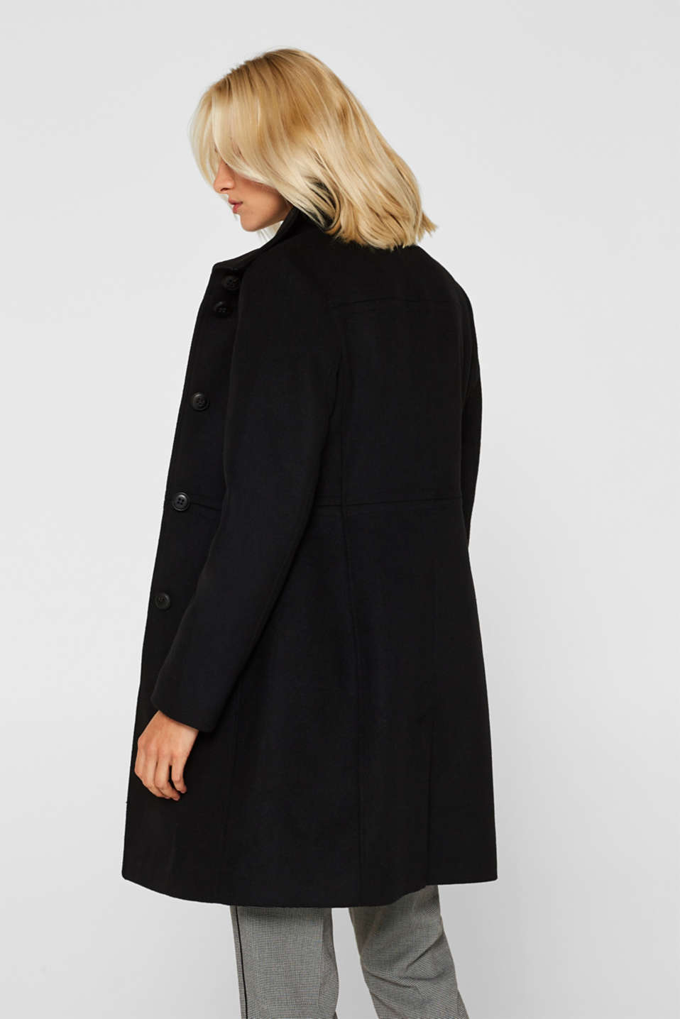 With wool: coat with a trendy collar, BLACK, detail image number 3