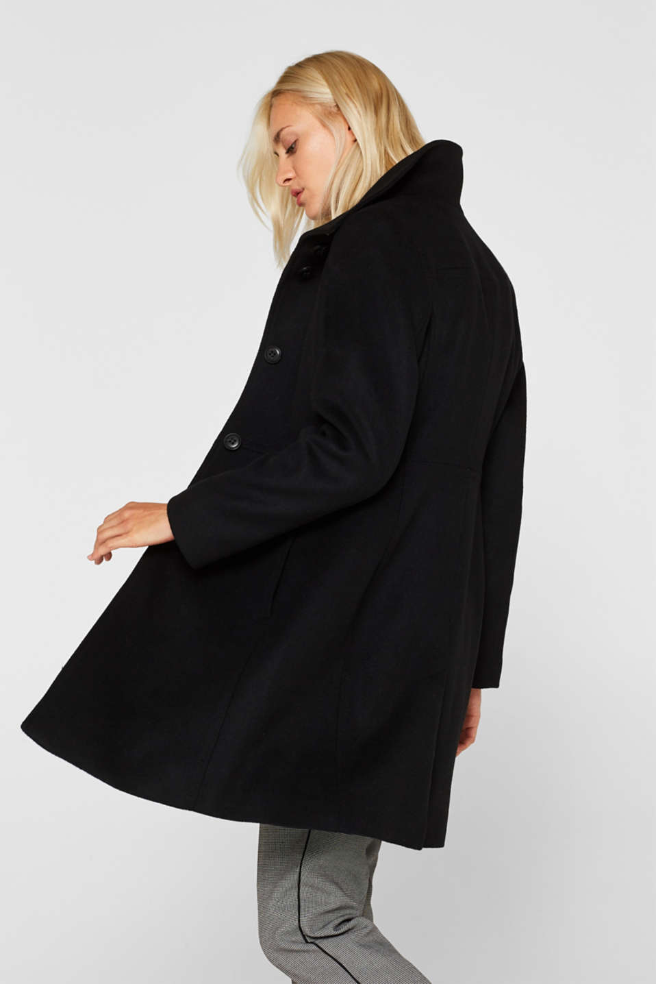 With wool: coat with a trendy collar, BLACK, detail image number 5