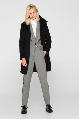 With wool: coat with a trendy collar, BLACK, detail