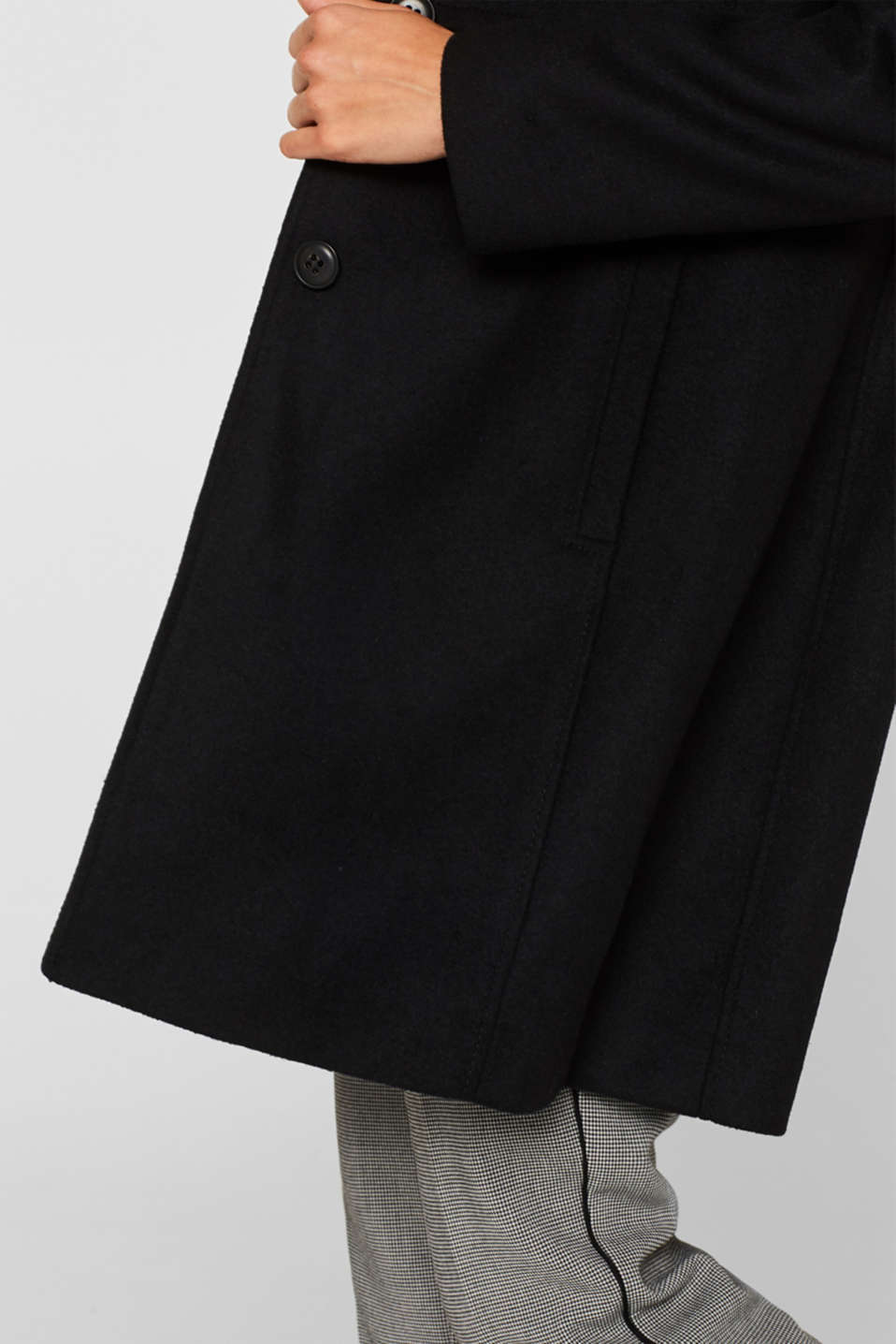 With wool: coat with a trendy collar, BLACK, detail image number 2