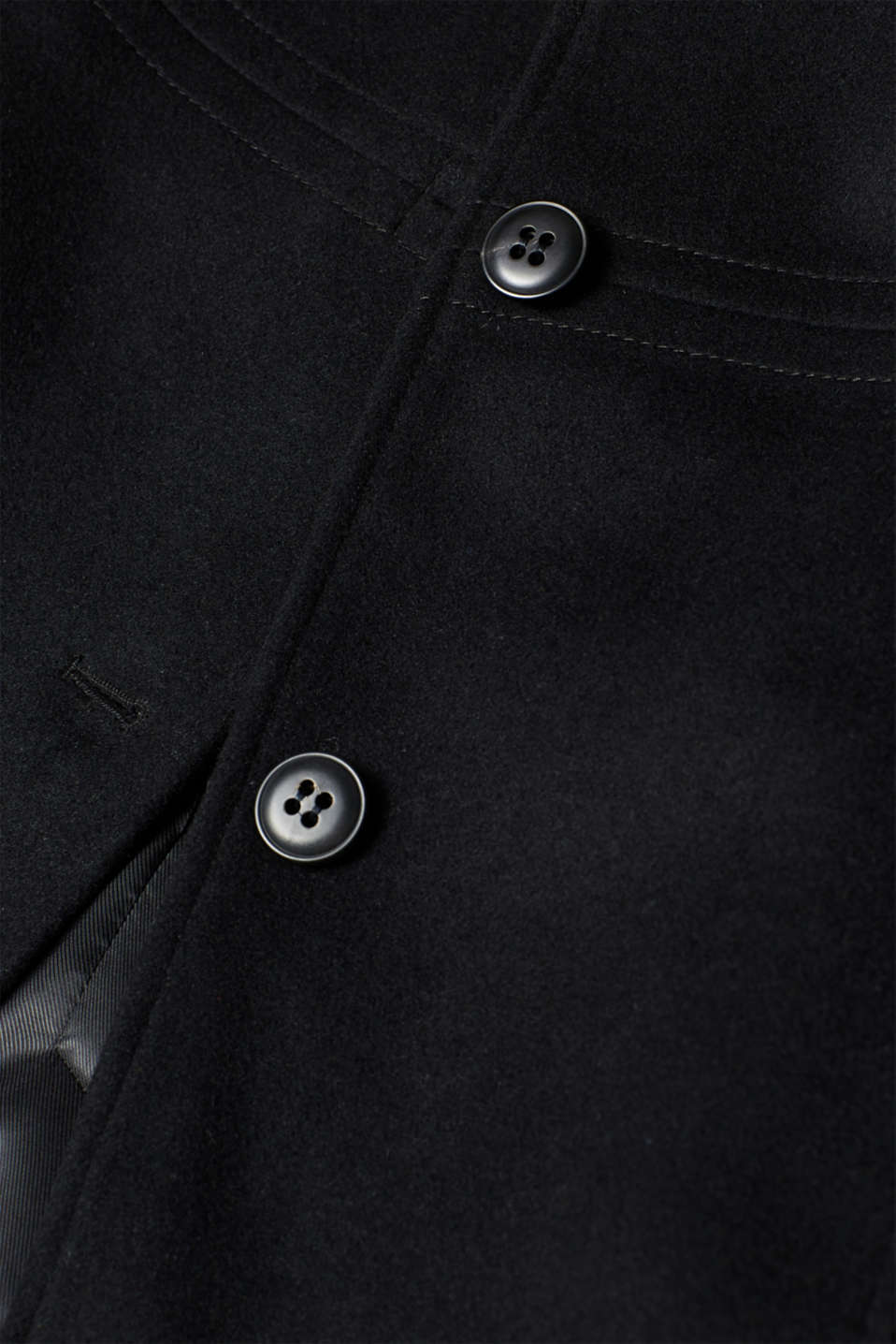With wool: coat with a trendy collar, BLACK, detail image number 4