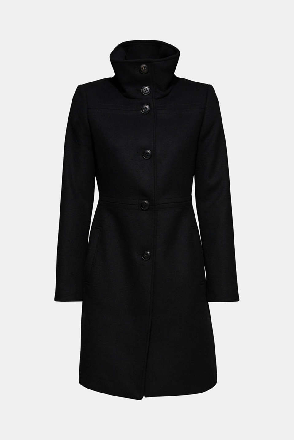 With wool: coat with a trendy collar, BLACK, detail image number 6
