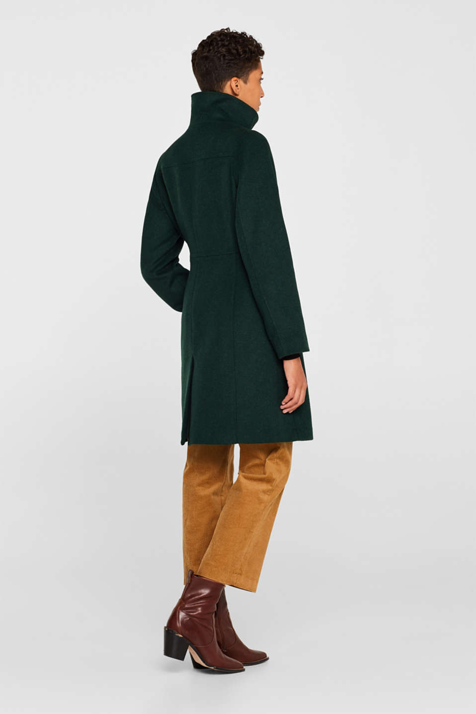 Wool blend: coat with a stand-up collar, BOTTLE GREEN, detail image number 3