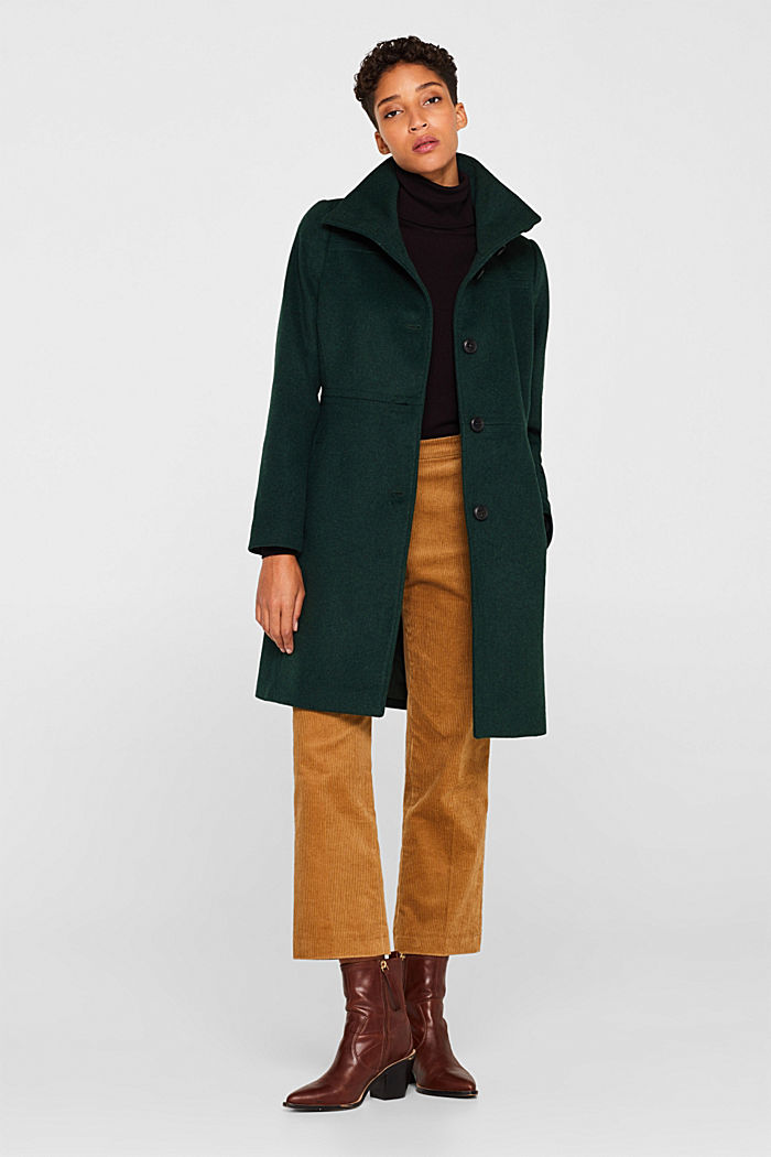 Wool blend: coat with a stand-up collar, BOTTLE GREEN, detail image number 1