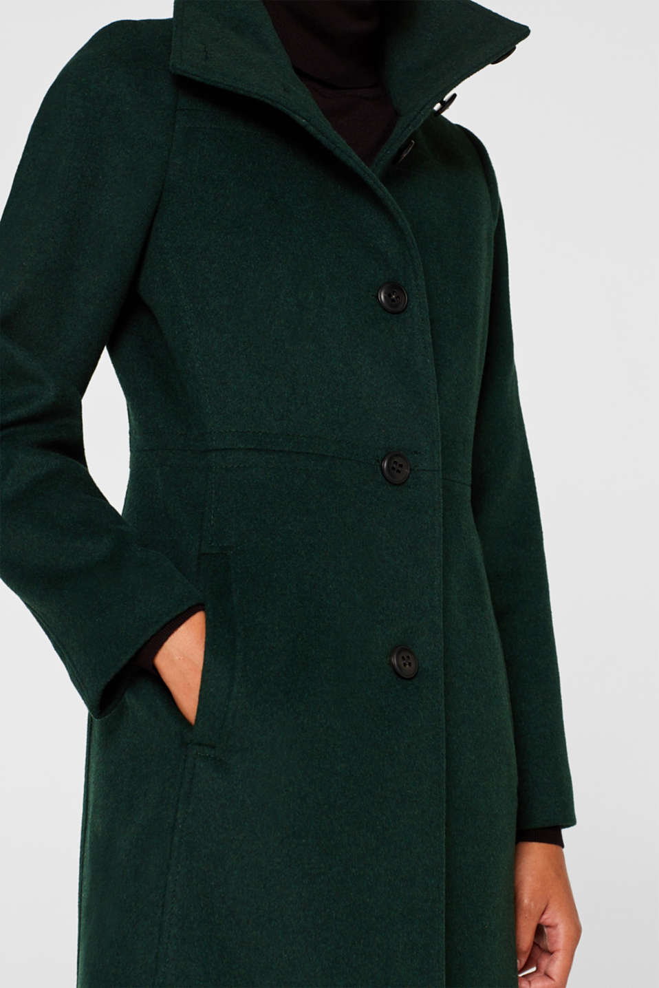 Wool blend: coat with a stand-up collar, BOTTLE GREEN, detail image number 2