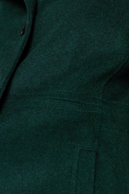 Wool blend: coat with a stand-up collar, BOTTLE GREEN, detail