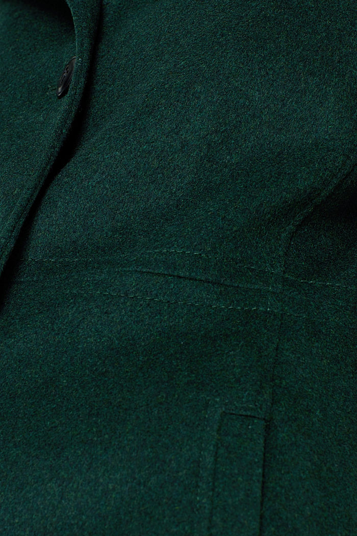 Wool blend: coat with a stand-up collar, BOTTLE GREEN, detail image number 4