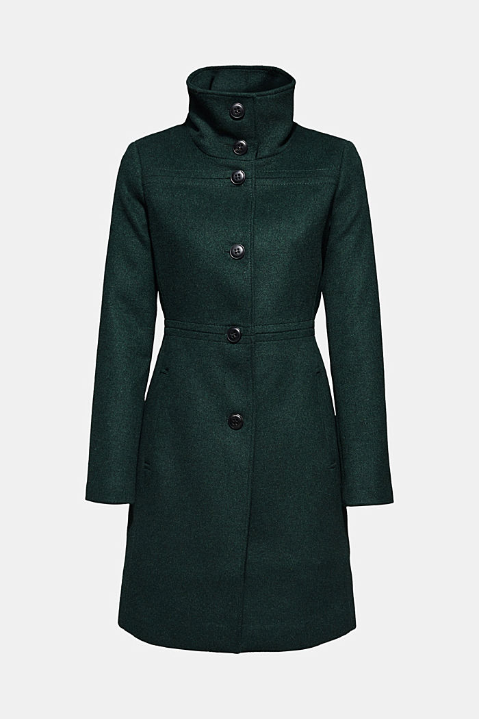 Wool blend: coat with a stand-up collar, BOTTLE GREEN, detail image number 6