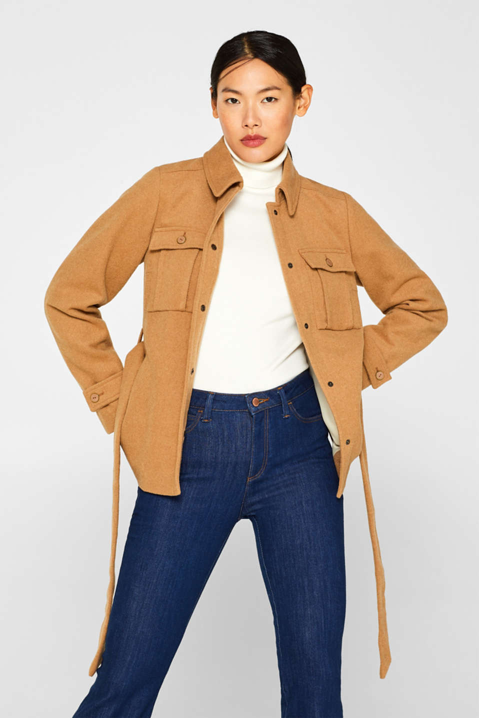Esprit - Blended wool: shirt-style jacket with a belt