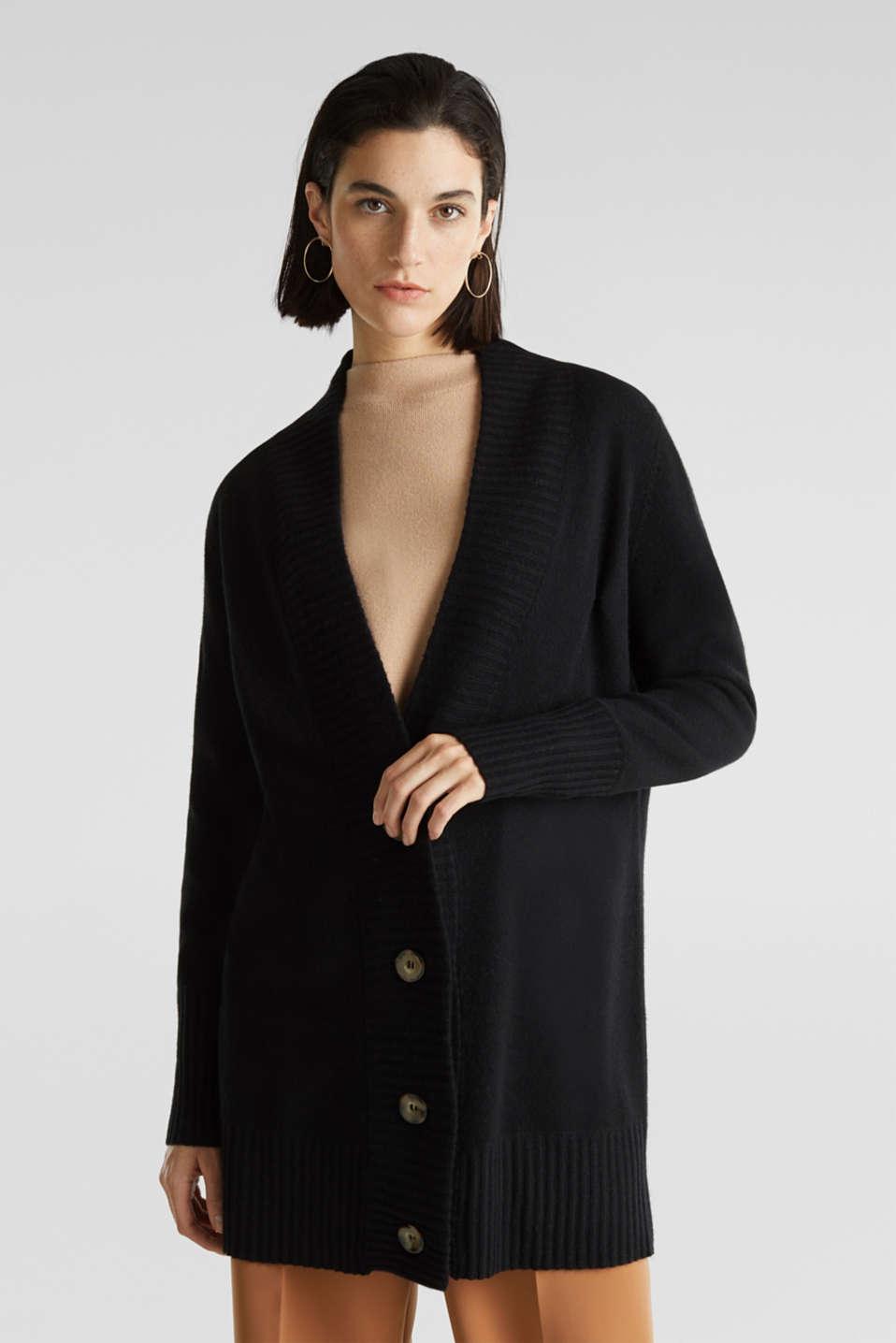 100% cashmere: long cardigan, BLACK, detail image number 0