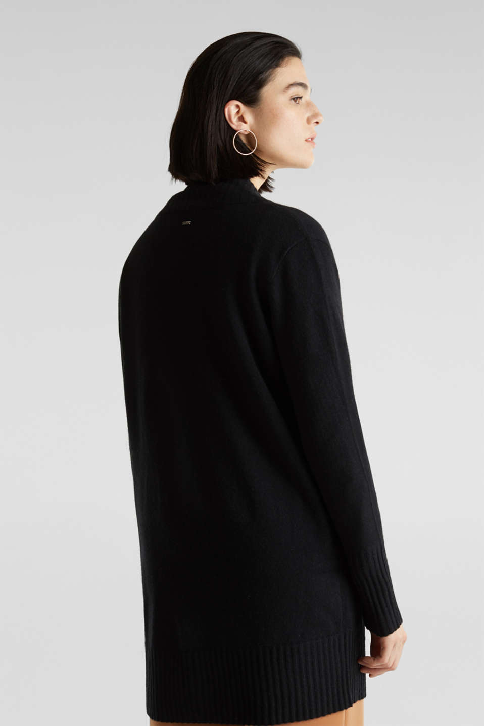 100% cashmere: long cardigan, BLACK, detail image number 3