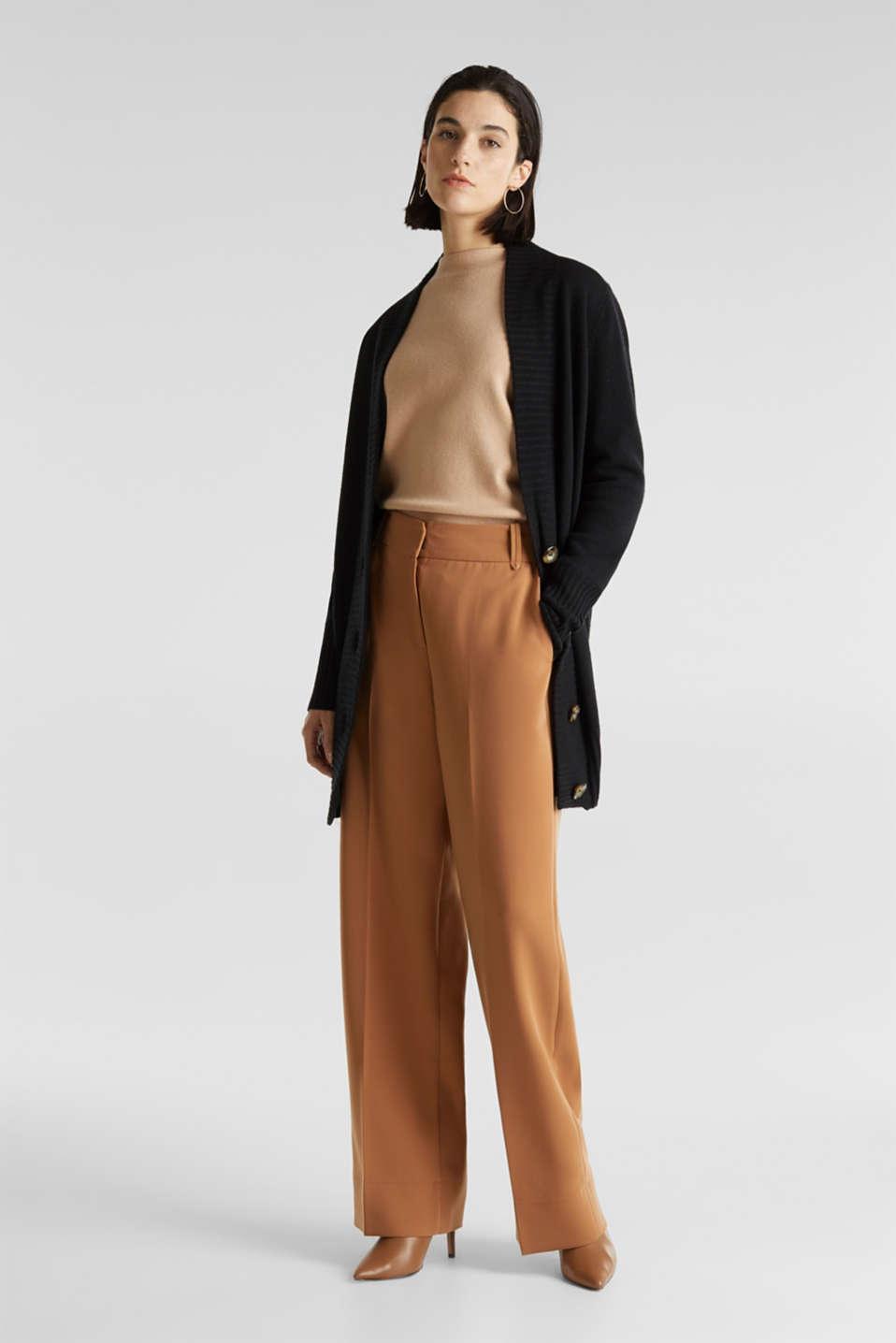 100% cashmere: long cardigan, BLACK, detail image number 1
