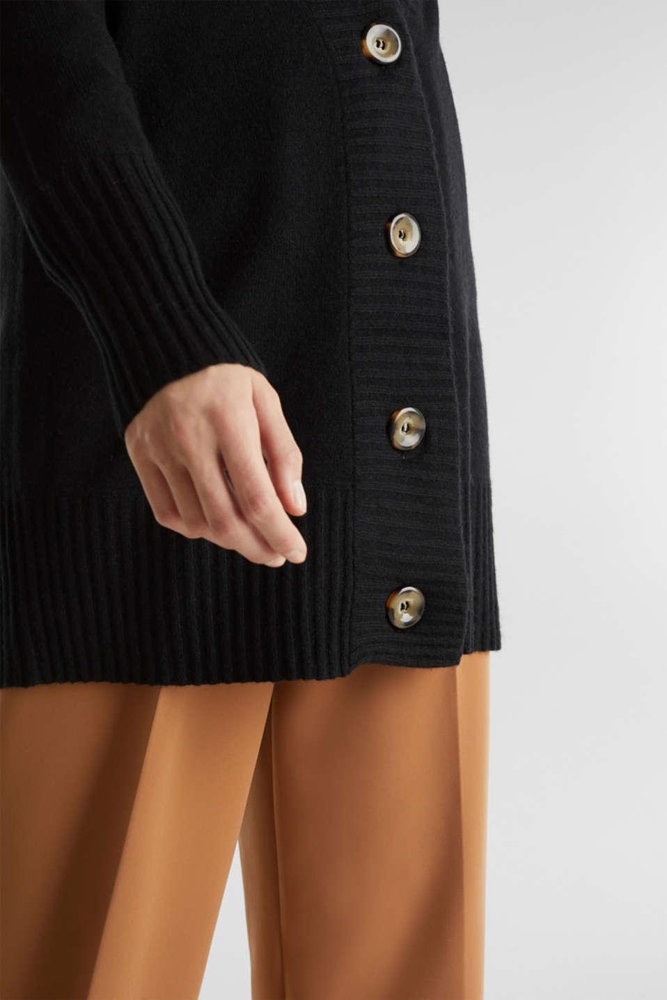 100% cashmere: long cardigan, BLACK, detail image number 2