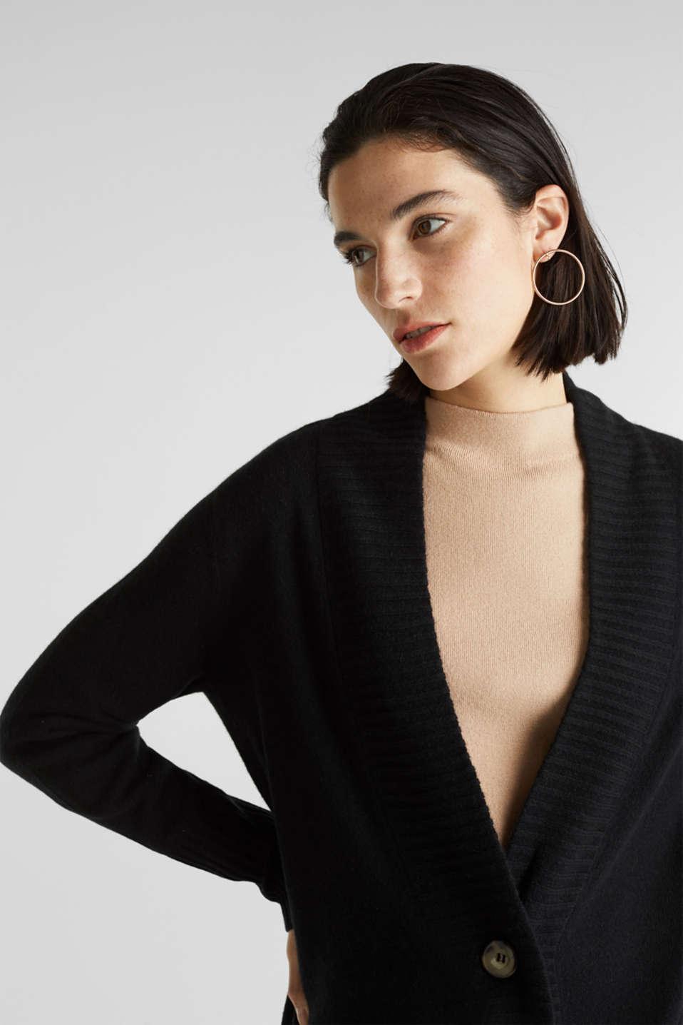 100% cashmere: long cardigan, BLACK, detail image number 6