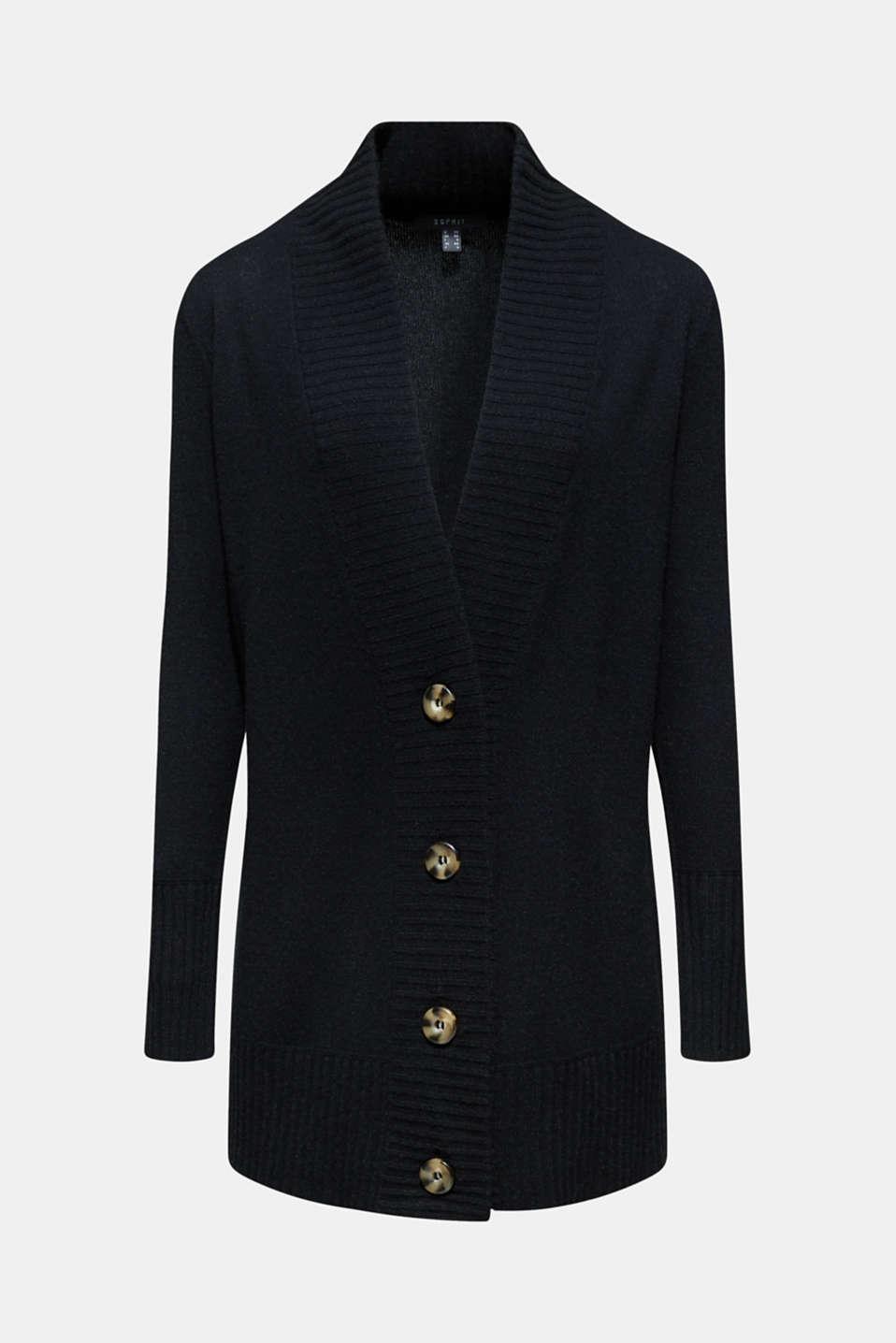 100% cashmere: long cardigan, BLACK, detail image number 7