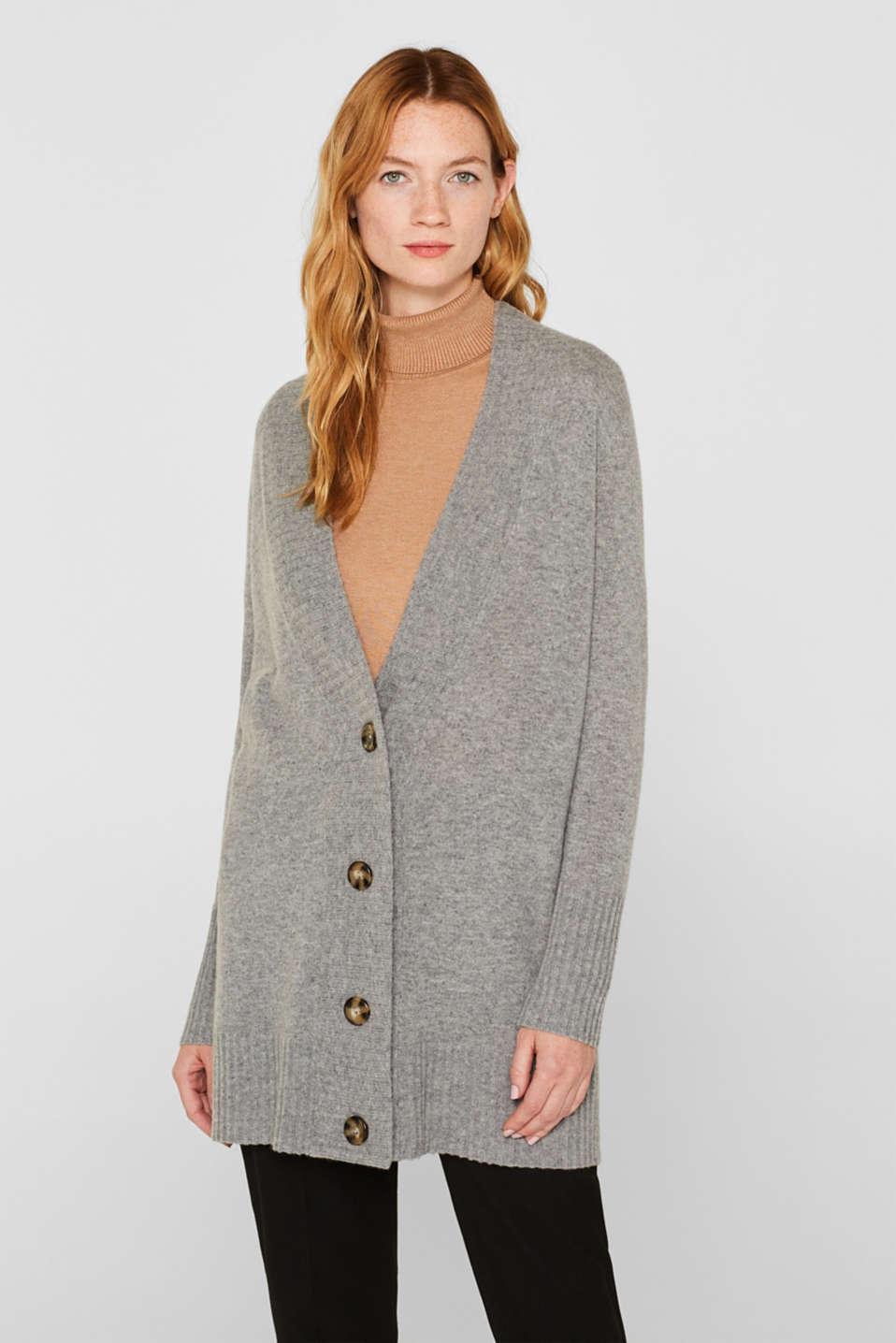 100% cashmere: long cardigan, MEDIUM GREY 5, detail image number 0