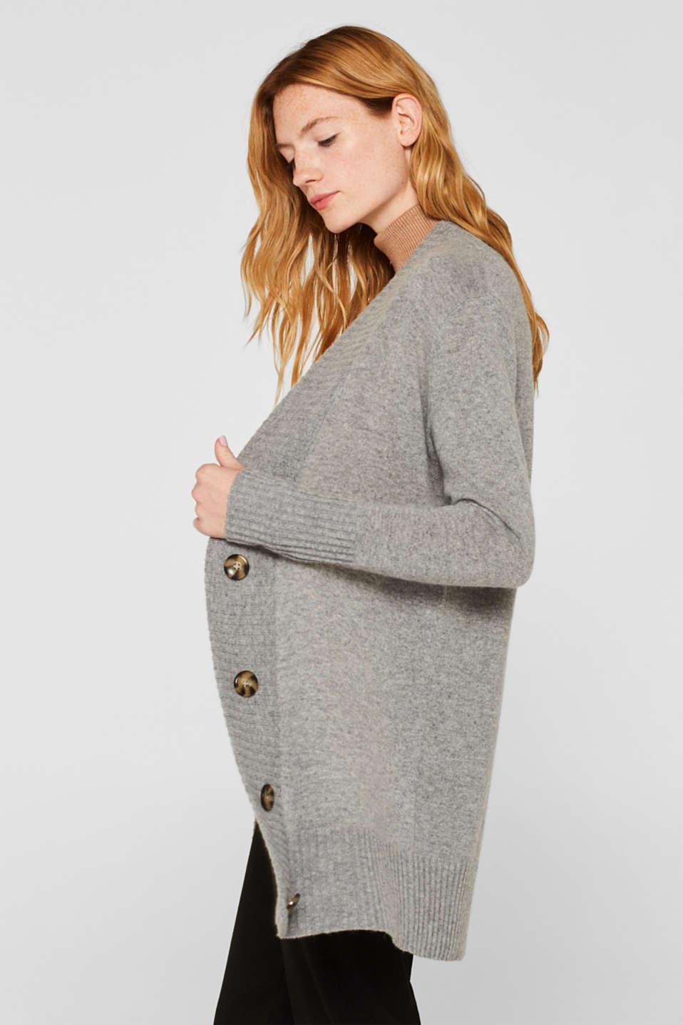 100% cashmere: long cardigan, MEDIUM GREY 5, detail image number 5