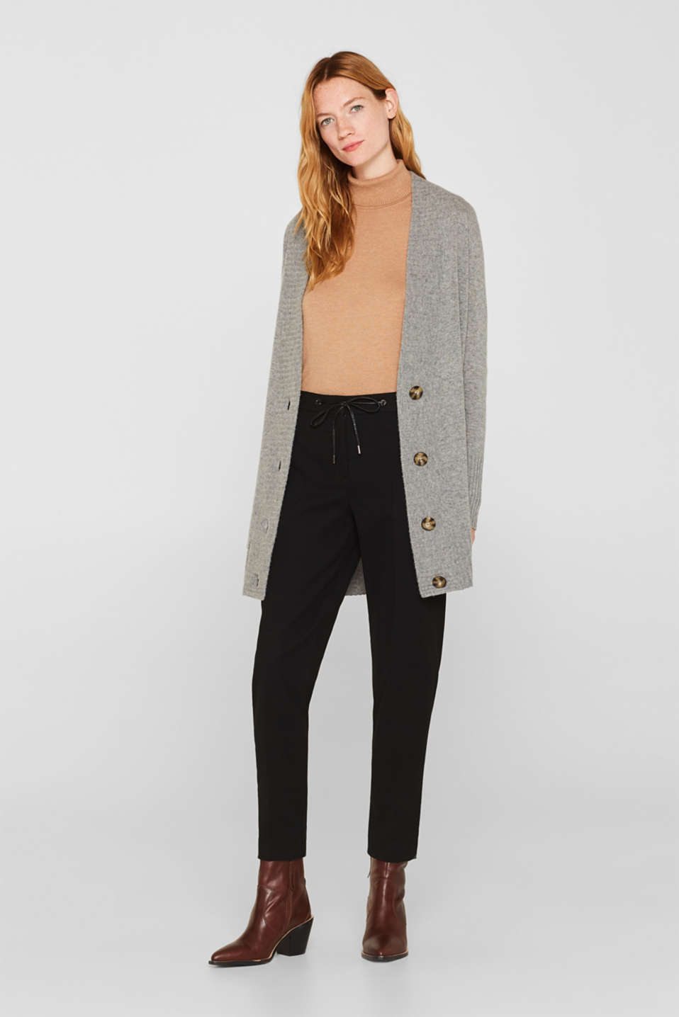 100% cashmere: long cardigan, MEDIUM GREY 5, detail image number 7