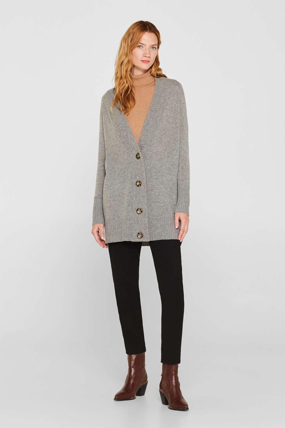 100% cashmere: long cardigan, MEDIUM GREY 5, detail image number 1