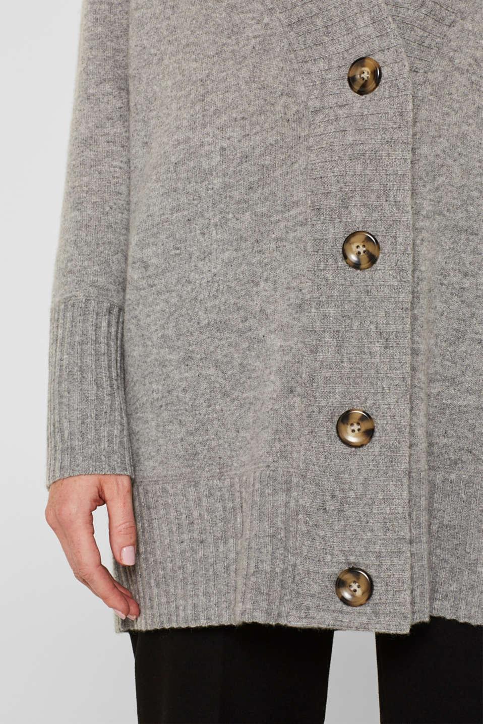 100% cashmere: long cardigan, MEDIUM GREY 5, detail image number 2
