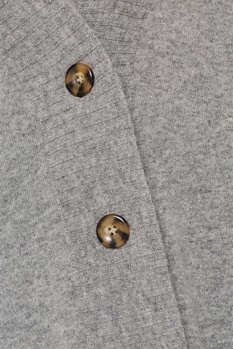 100% cashmere: long cardigan, MEDIUM GREY 5, detail image number 4
